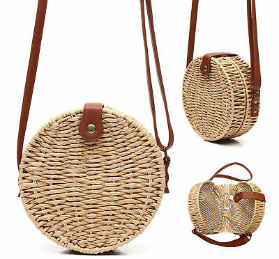 Women's Vegan Bohemian Woven Canteen Handbag Wicker Lined Boho Chic Purse