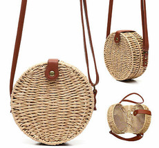 Women's Vegan Bohemian Woven Canteen Handbag Wicker Lined Boho Chic Purse image 1
