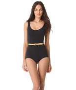 NWT $340 Michael Kors Collection Sun Deck Solids Belted Maillot Swimsuit 8 - $79.93