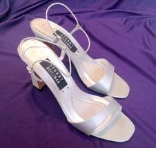Stuart Weitzman Silver Open Toe Rhinestone Accented Heels Size 8N - $20.00
