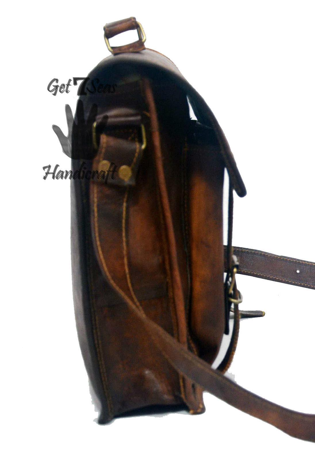 Messenger bag leather men's shoulder laptop women briefcase vintage satchel bags