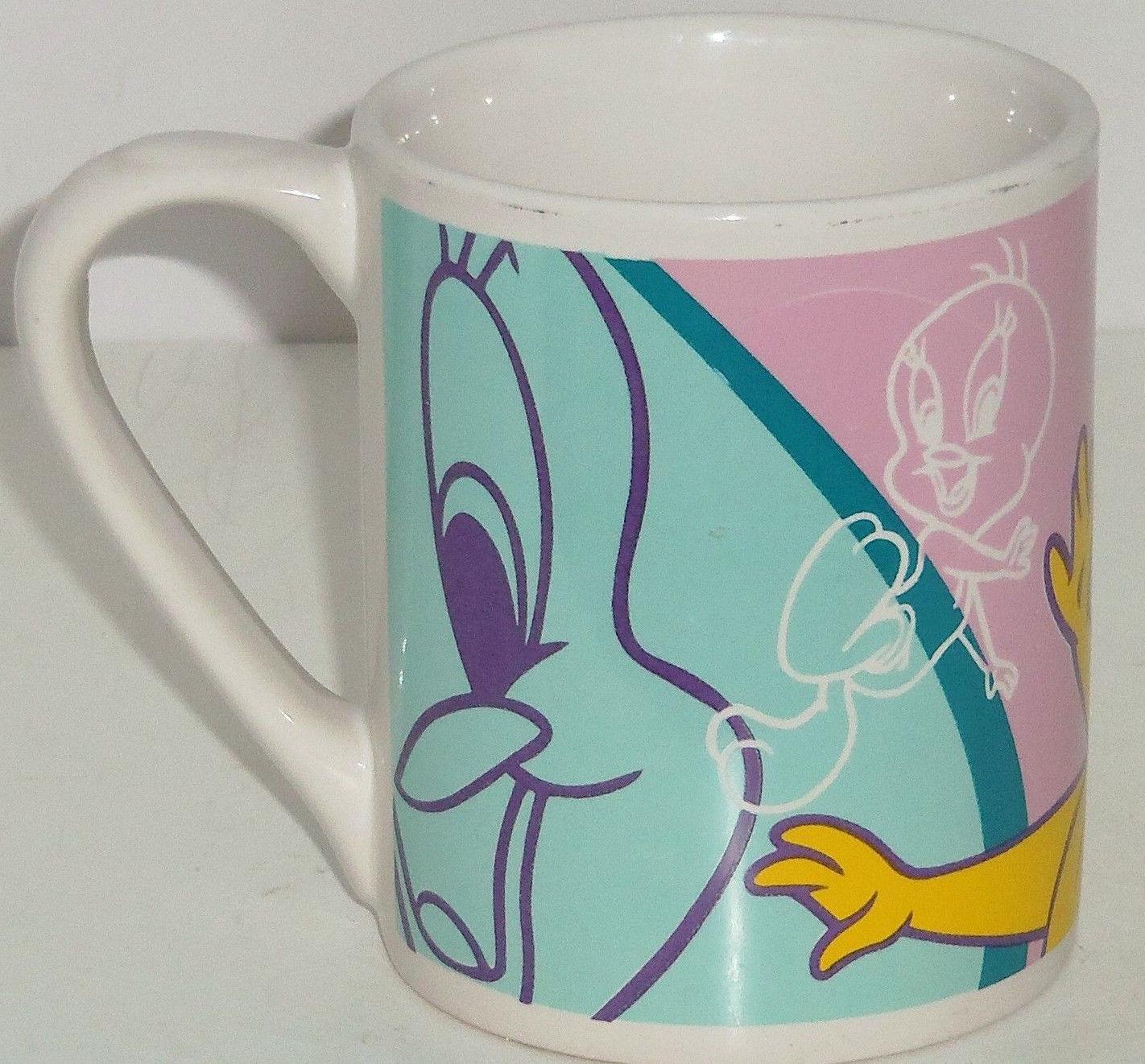 Looney Tunes Tweety Bird Cup Mug Coffee Yellow Pink Blue Gibson Soup Tea