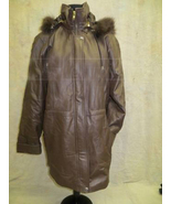 Images Dark Brown Leather Coat with Fox Fur Trim On Hood Size Small - $155.00