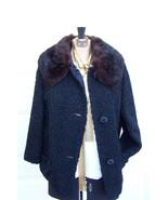 JUST REDUCED Vintage Black Faux Persian Lamb Brown Detachable Fur Collar... - $97.00