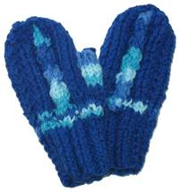 Little child's blue hand knit mittens - $170,84 MXN