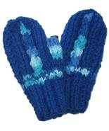 Little child's blue hand knit mittens - $9.00