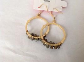 NEW Geranium Gold Toned Dangling Earrings Dark Gray Black Stones Ring Earrings image 4