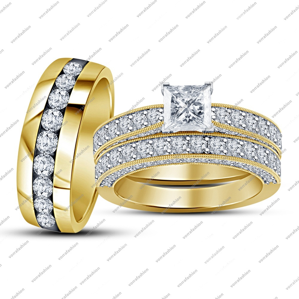 Beautiful Engagement Trio Ring Set In 14k Yellow GP 925 Silver Princess White CZ