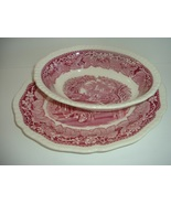 "Masons Vista Red Transfer Ware 11"" Oval Platter and Oval Bowl Vintage - $63.75"
