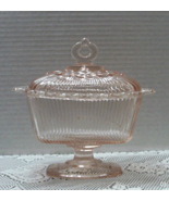 Vintage INDIANA GLASS Pink Pedestal Candy Dish With Lid - $12.00