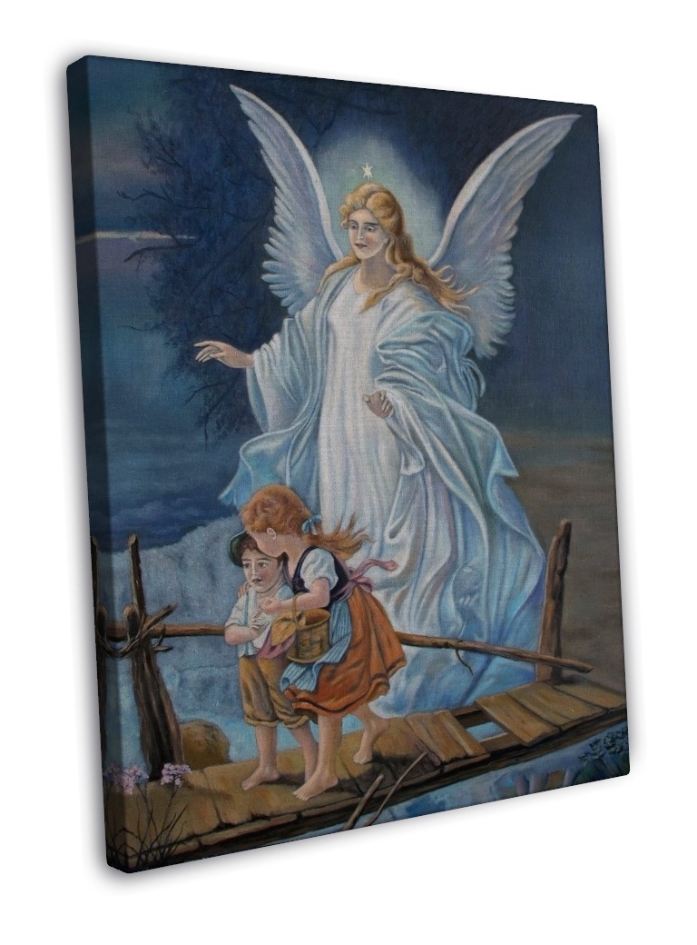 GUARDIAN ANGEL Religious Image 16x12 FRAMED CANVAS Print