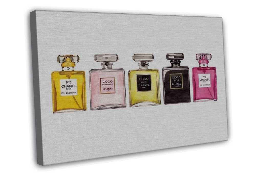 CHANEL NO 5 PERFUME ROW OF BOTTLES IMAGE 16x12 FRAMED CANVAS Print