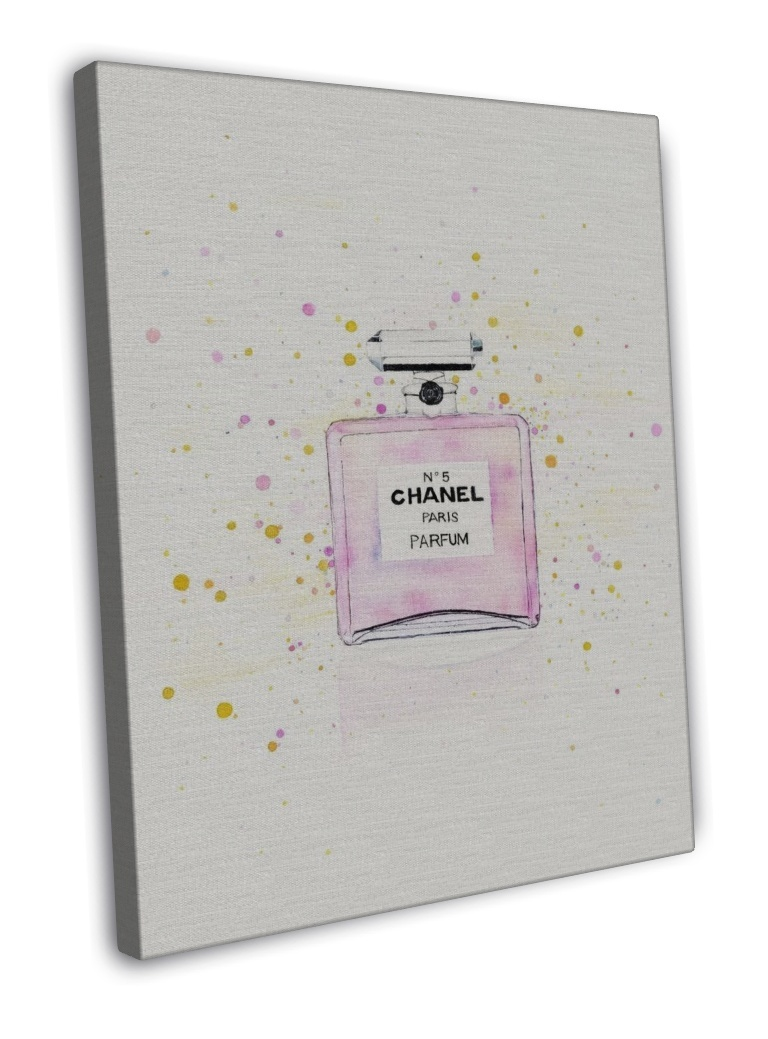 CHANEL NO5 PERFUME WATERCOLOUR ART IMAGE 16x12 FRAMED CANVAS Print