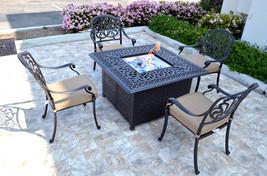 Patio conversation set cast aluminum Furniture Propane fire pit table 5 pc image 4