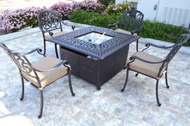 Patio conversation set cast aluminum Furniture Propane fire pit table 5 pc image 3