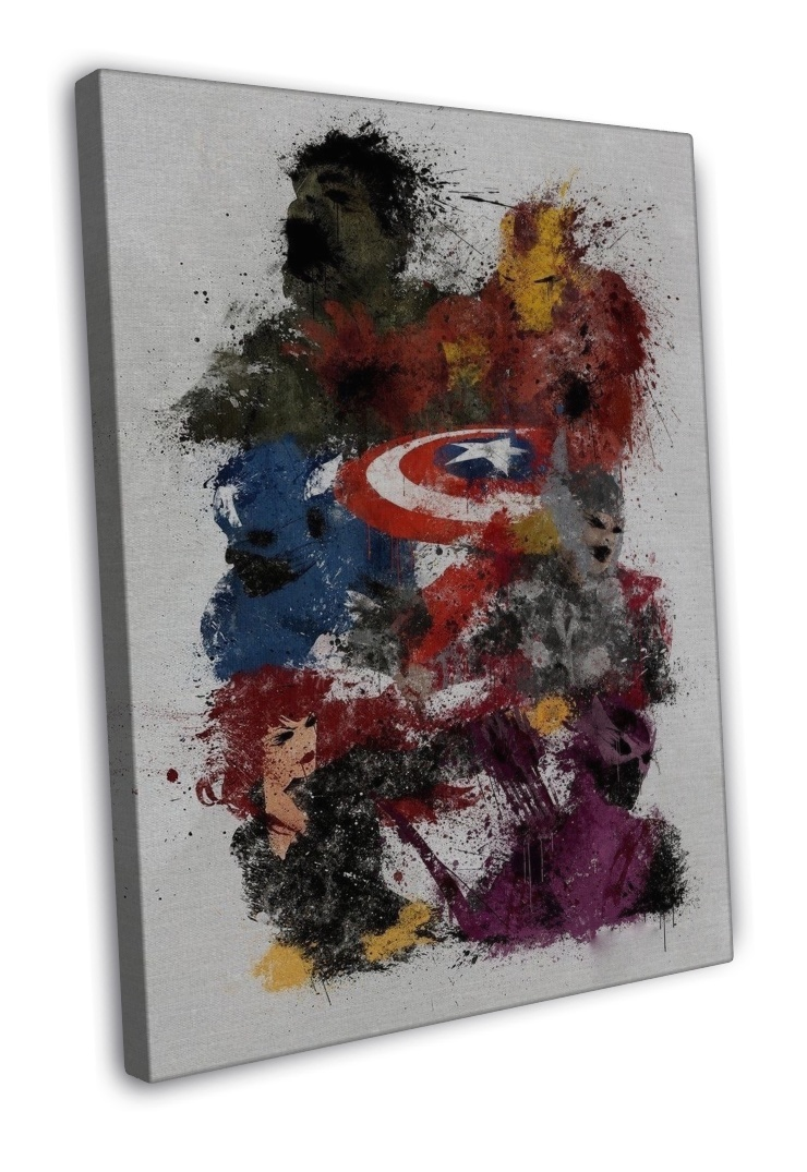 MARVEL SUPERHEROS JOINED WATERCOLOUR ART IMAGE 16x12 FRAMED CANVAS Print