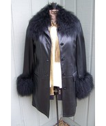 Womens New Black Leather 3/4 Length Coat with Tibetan Lamb Trim Size Small - $475.00