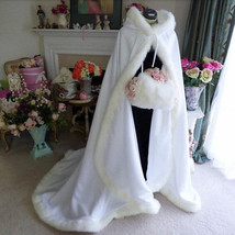 Hooded Bridal Capes Cloaks White Wedding Cloak Winter Wedding Coats For Brides - $149.99