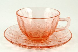 Jeannette Glass Floral Poinsettia Cup & Saucer Pink Depression - $9.00