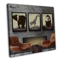 Minimalist Africa Animals Art Canvas Picture Li... - $29.95