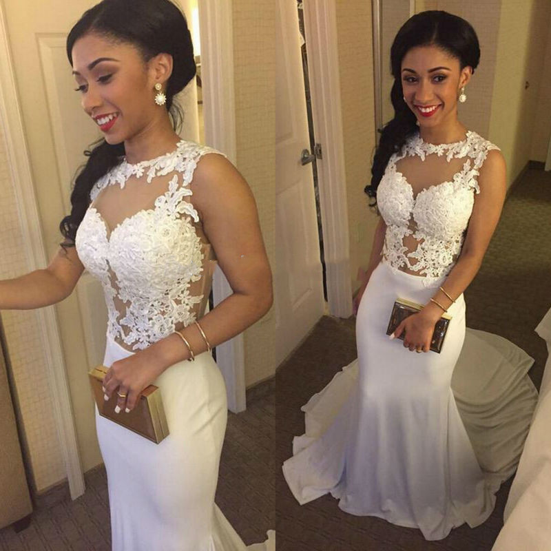 Sexy Long Prom Dress  Chiffon with Lace Appliques Mermaid dress
