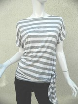 NWT Michael Kors Shirt Gray and White Striped Shirt with side tie Sz XS - $17.40