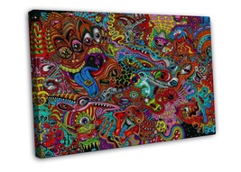 Psychedelic Trippy Art Wall Decor 16x12 FRAMED CANVAS Print - $29.95