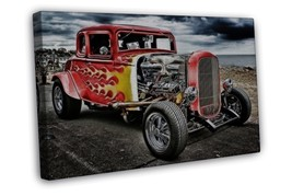 Hot Rod Vintage Cars Art 16x12 FRAMED CANVAS Print Decor - $22.46