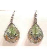 GEC Woven & beaded, green & orange on silver hook earrings in gift bag - $3.95