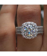 Solid 925 Silver White Gold Plated Round Cut White CZ Trio Engagement Ri... - $140.99