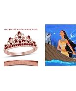 18K Rose Gold Fn. Round Cut Red Ruby Pocahontas Princess Crown Engagemen... - $65.99