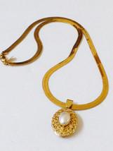 Park Lane gold tone metal flexible herringbone link pearl faux locket Ne... - $44.55