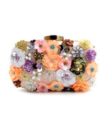 diamond-studded beads embroidered sequins flower evening bag - $29.00