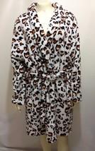 Hotel Spa Collections Womens L/XL Leopard Animal Print Fleece Bath Robe - $33.81