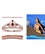18K Rose Gold Fn. Red Ruby Pocahontas Princess Crown Engagement Ring-Hea... - $52.99