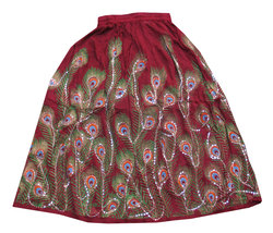 Marron Sequin Work Handmade Women's Skirt,Indian Belly Dance Skirt,Banja... - $35.00