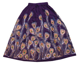 Purple Sequin Work Handmade Women's Skirt,India... - $35.00