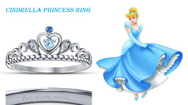 18K White Gold Fn. Multi-Stone Cinderella Princess Crown Engagement Heart Ring - $52.99