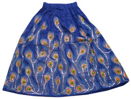 Blue Sequin Work Handmade Women's Skirt,Indian Belly Dance Skirt,Banjar... - $35.00