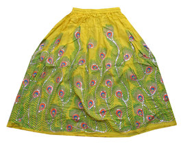 Yellow Sequin Work Handmade Women's Skirt,Indian Belly Dance Skirt,Banja... - $35.00