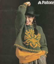 Bold & Beautiful Chunky Knit Patterns Beautiful Pullovers 1989 Patons #525 - $8.98