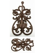 Large Cast Iron French Scroll Wall Double Coat & Hat Hook  French Countr... - $19.79