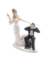 Bride and Groom Cake top funny couple ball and chained groom - $12.86