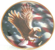American Eagle Collector Plate Bird Flag Franklin Mint Collection Retired - $59.95