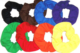 8 Hair Scrunchies by Sherry Red Blue Green Yellow Orange Purple Brown Bl... - $34.60+