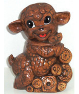 Lamb Cookie Jar Treasure Craft Collectible Cookie Brown Vintage - $99.95