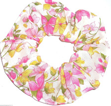 Floral Hair Scrunchie Flowers Pink Yellow on White Fabric Scrunchies by ... - $6.99