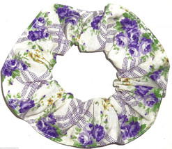 Floral Hair Scrunchie Flowers Purple Green on Cream Fabric Scrunchies by Sherry  - $6.99