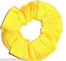 Bright Yellow Cotton Fabric Hair Scrunchie Scrunchies by Sherry Handmade USA  - $6.99