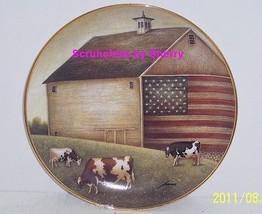 American Folk Art Collector Plate Proud Pasture USA Flag Barn Franklin Mint - $14.97